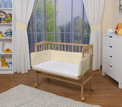 WALDIN Baby,Lettino culla,altezza regolabile,paracolpi e materasso,in 16 varianti, naturale,beige/gialle
