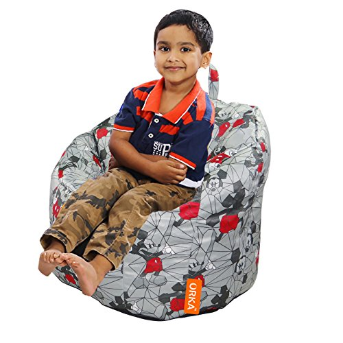 Disney's Mickey Mouse Digital Printed Kids Boss Chair Filled with Beans - Grey & Red  available at amazon for Rs.1999