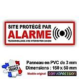 Panneau de Dissuasion SITE Protege par Alarme 150 x 50 mm en PVC + 4 Trous pour Fixation avec Texte : Télésurveillance avec Intervention 24H/24H (Panneau Alarme)...