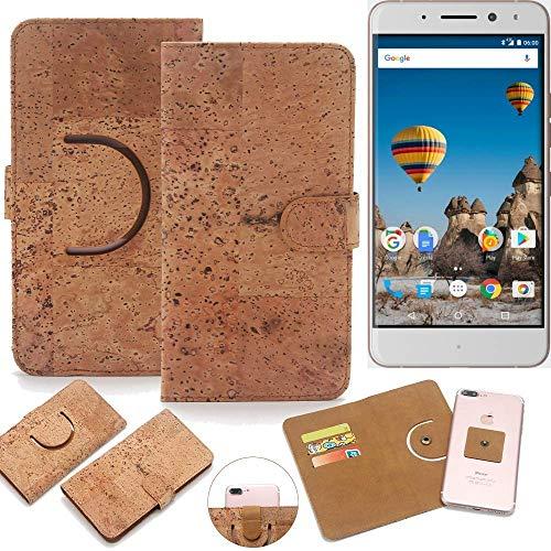 K-S-Trade Schutz Hülle für General Mobile GM 5 Plus Handyhülle Kork Handy Tasche Korkhülle Schutzhülle Handytasche Wallet Case Walletcase Flip Cover Smartphone