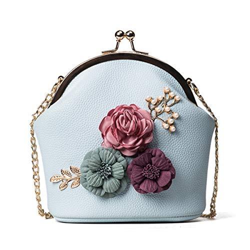 chuangminghangqi Damen Clutch Abendtasche Hochzeit - Handtasche mit Blumen Umhängetasche Hochzeit Braut Geldbörse (Onesize, Hellblau)