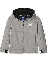 Nike B NSW Hoodie FZ AV15 Sudadera, Niños, Gris (dk Grey Heather/Black/White), L
