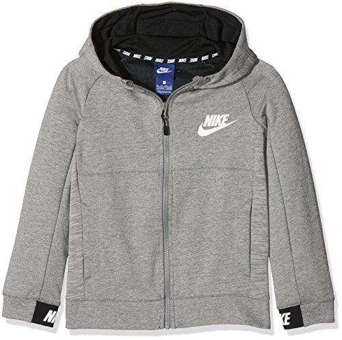 Nike Jungen Sportswear Advance 15 Langarm Oberteil Mit Kapuze Full-Zip Dark Grey Heather/Black/White, XL