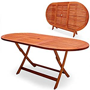 "Table de jardin pliable ""Alabama"" en bois d'Eucalyptus pré-huilé -Certifié FSC® - table pliante terrasse balcon"