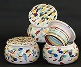 original französische wassergekühlte keramik butterdose, nie mehr harte butter zum frühstück. ca 250 g butter, bunt pinsel-tupf-dekor