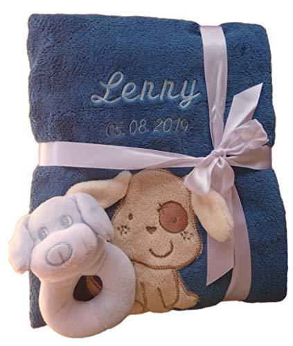 Babydecke mit Namen bestickt Babysocken Babyrassel Greifling Baby Geschenk Geburt Taufe (petrol Hund)