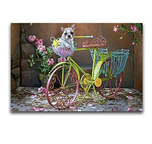 Yiciyici Frankreich Stier Hund Voll Platz Diamant Stickerei Herbst Pfingstrose Blumen DIY Diamant Malerei Kreuzstich Tier Diamant Mosaik Bike 40X50Cm (Kreuzstich-frankreich)