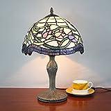 Gweat 12-Zoll Vintage pastoralen Lotus Glasmalerei Tischlampe Schlafzimmer Lampe Nachttischlampe