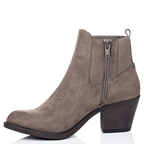 SPYLOVEBUY LONGSHENG Femmes à Talon Bloc Chelsea Boots Bottines Brun - Simili Daim