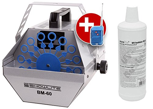 Showlite BM-60 Seifenblasenmaschine 60W mit Funk Fernbedienung und 1L Eurolite UV-Fluid blau (0,6l Tank, 2-3 Stunden Laufzeit bei vollem Tank, Party Effekt, Disco Bubbles) -
