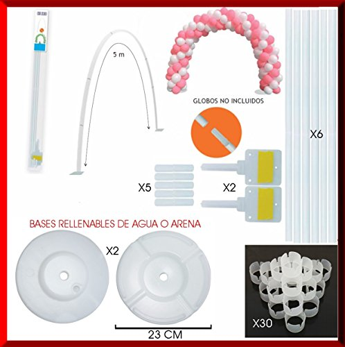 Estructura para Arco DE Globos 5 Metros con Soportes Adhesivos + 2 Bases RELLENABLES DE Agua + 30 Clips FIJADORES DE Globos