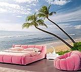 Yosot Küste Wellen Himmel Meer Hawaii Palma Sand Natur Tapeten Wohnzimmer Fernseher Sofa Wand Schlafzimmer 3D Tapeten Wandmalereien-300Cmx210Cm