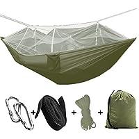 Hamaca de viaje para acampar al aire libre, tienda de campaña con mosquitera, verde