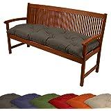 Cuscino per panchine giardino, di Beautissu - 150x50x10 cm - antracite - soffice cuscino imbottito per panche e dondoli