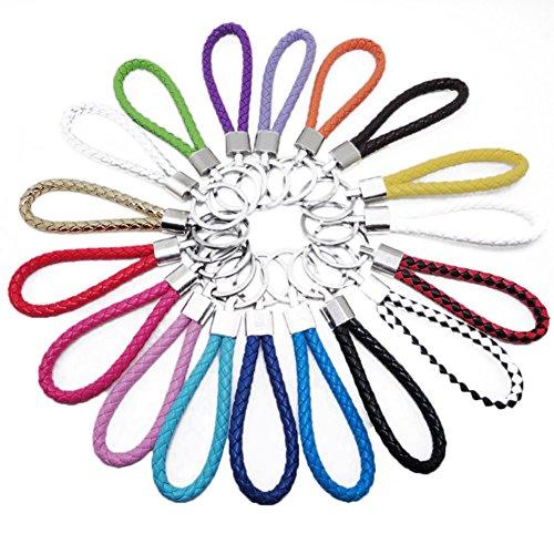 Cosanter 5 Farbe Schlüsselkette 9cm Länge Handgelenk Trageband Handschlaufe Schlaufe aus PU Kunstleder for Schlüssel,10 Stück (Schwarze Leder-schlüssel-schlaufe)