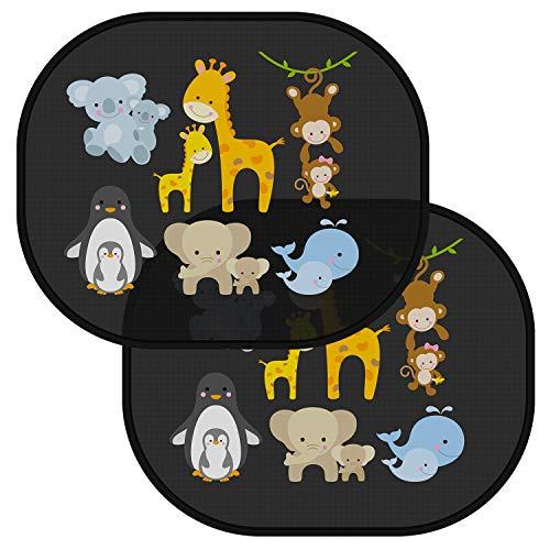 Tendine parasole auto bambini - parasole bambini accessori auto, protezione da sole e raggi uv tendina bimbo per vetri posteriori macchina - 2 pezzi 44.6x35.8cm adesive universali animali nere