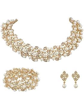 EVER FAITH® österreichischen Kristall künstliche Perle elegant Halskette mit Anhänger Ohrring Schmuck-Set Klar...