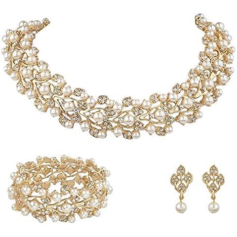 Ever Faith Austriaco di cristallo simulati perle Sposa Gioielli Imposta color avorio - Gold-Tone N04466-2