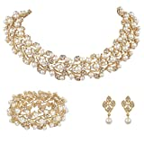 EVER FAITH® Gold-Tone Austrian Crystal Simulated Pearl Bridal Jewellery Sets Ivory Color N04466-2