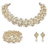 EVER FAITH® österreichischen Kristall künstliche Perle elegant Halskette mit Anhänger Ohrring Schmuck-Set Klar Gold-Ton N04466-1