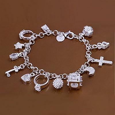 3c89d2e13762 joyliveCY-Unique Fashion 925 ba ado en plata joyas pulsera de cadena de  mano anillo Cruz de trece colgante