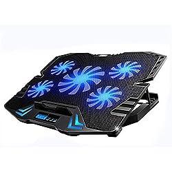 LI DANNA 15.7-22.3 Pouces Gaming Cooler Cooling Pad, 5 Ventilateurs Tout à Fait Et écran LCD, 2400RPM Vent Fort Conçu pour Les Joueurs Et Le Bureau,A-36 * 25.5 * 2.7cm