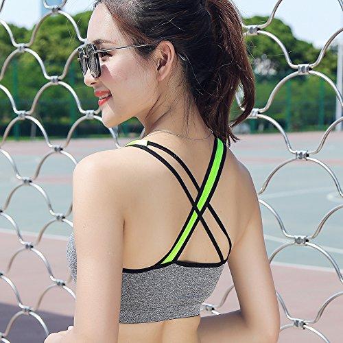 Keysui Doppelschicht Nahtlos Sport BH ohne Bügel Schulterfrei für Yoga Sport Top Grau
