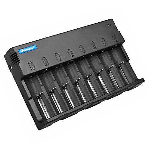 Foxnovo F-08 8-slots Li-ion Ni-MH Ni-CD Universal Intelligente batteria-con caricabatterie EU-spina-Adattatore per 26650, 22650, 18650, 18500, 18490, 17670, 17650, 17500, 16340, 14500, 10440, Ni-MH and Ni-CD A, AA, AAA, C, SC batterie ricaricabili (Nero)