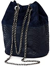 Bag with adjustable chain belt genuine leather suede / snake look (24 / 19 / 16 cm) mod. 1300-p