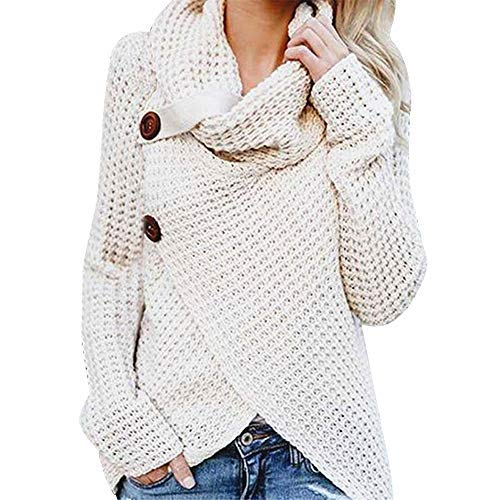 iHENGH Damen Herbst Winter Übergangs Warm Bequem Slim Mantel Lässig Stilvoll Frauen Langarm Solid Sweatshirt Pullover Tops Bluse Shirt (XL, Weiß) -