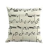 Hunpta Note de musique Peinture Housse de coussin en lin Couvre-lit Taie d\'oreiller Canapé Décoration de maison