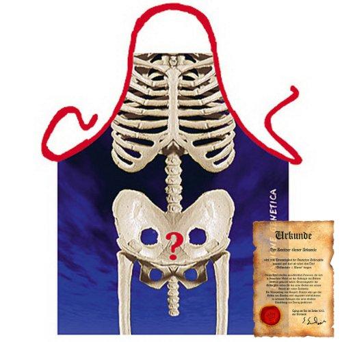 bedruckte Karneval Grillschürze - sexy Motiv: Skelett - coole lustige Fasching Party Koch Schürze Latzschürze Fastnacht (Pferd Skelett Kostüm)