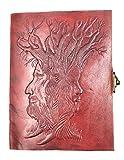 Kooly Zen - Carnet, bloc notes, journal, livre, cuir véritable, vintage, fermoir métal, Arbre de Vie 13cm X 17cm, Papier premium