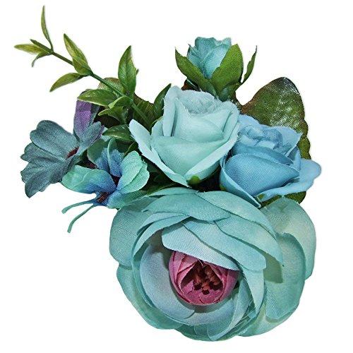 Anstecknadel mit bunten Blumen - Toller Haarschmuck zur Trach oder als Accessoire zum Sommerhut - Blau - Rosenkranz Clip