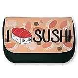 'Astuccio nero di trucco o di scuola 'I Love Sushi Chibi e kawaii by Fluffy Chamalow–Chamalow Shop