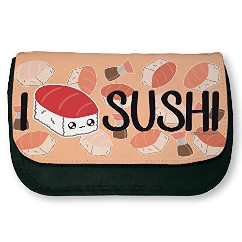 """Astuccio nero da trucco o da scuola 'I Love Sushi"""", Chibi e Kawaii di Fluffy Chamalow"""