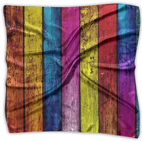 Multicolor Wood Textures Rainbows Planks Wood Panels Colors Fashion Women's Classic Printing Scarf - Fuchs Und Freunde Kostüm
