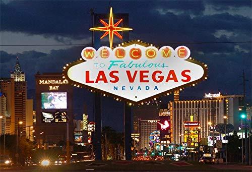 YongFoto 1,5x1m Vinyl Foto Hintergrund Willkommen im Fabelhaften Las Vegas Nevada Unterhaltung Stadt Nachtsicht Fotografie Hintergrund Backdrop Fotostudio Hintergründe Requisiten