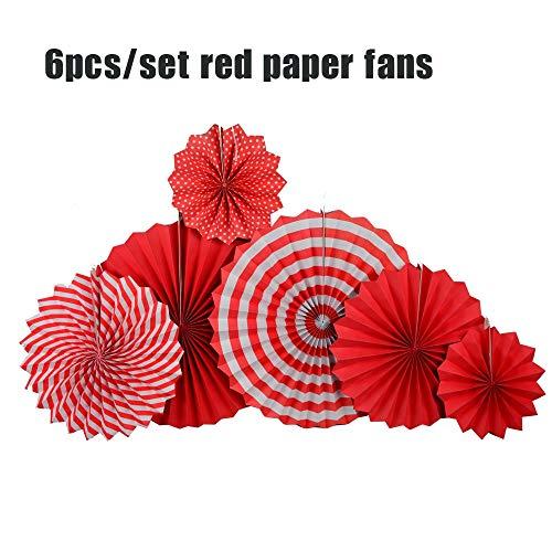 (DIY 6 stücke Rot/Gelb Set Hängen Papier Fans Für Chinesische Neue Jahr Party Dekoration Jahrestag Kinder Event Decor papier Handwerk)