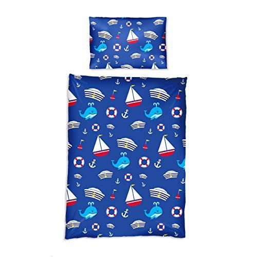 Lumaland Premium Baumwoll Baby- und Kinderbettwäsche mit YKK Reißverschluss 135 x 200 cm mit Kopfkissenbezug 80 x 80 cm Motiv Sailor