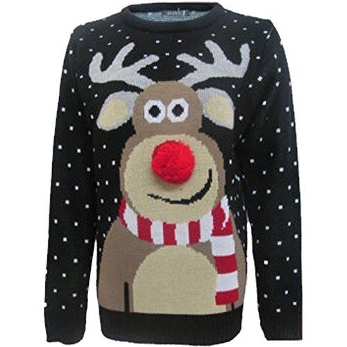 maglione largo unisex, per donne e uomini, articolo da regalo, a tema natalizio, con motivo 3d in stile vintage retrò anni '70 black rudolph poom s/m