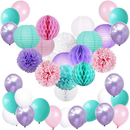 Meerjungfrau Einhorn Pastell Party Supplies & Dekorationen | Lila, Aqua, Pink und Weiß | Einhornballons, Taschentücher, Papierlaterne und Honigkammkugeln Set für Mädchen Geburtstag, Babydusche