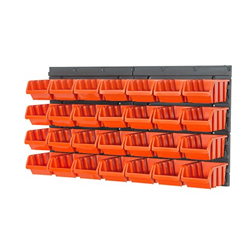 30 teilg. Wandregal Lagerregal Regale inkl. Stapelboxen Gr. 2 orange Werkstatt - Access-panel 12x12