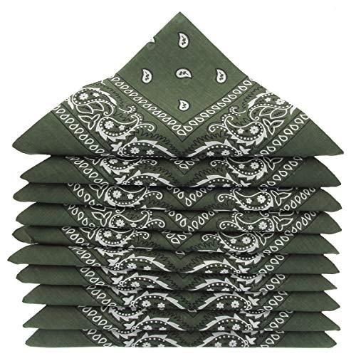 KARL LOVEN Lote de 20 bandanas 100% Algodon Paisley Panuelo Cabeza Cuello Bufanda (Juego de 20, Caqui verde)