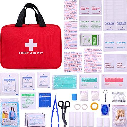 PLUSINNO Erste Hilfe Kit,Medizinische Verbandkasten,Verbandtasche für Zuhause,Reise,Fahren,Sport und im Freien (280 Pieces)