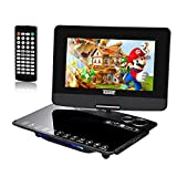 "10.1"" Lettore DVD Portatile, KSHOP mobile dvd player 1024*800 Schermo HD rotatable 270 grado Supporta formati multimediali, Retro TV Games Console con 300 giochi, Impermeabile Portable DVD Player nero"