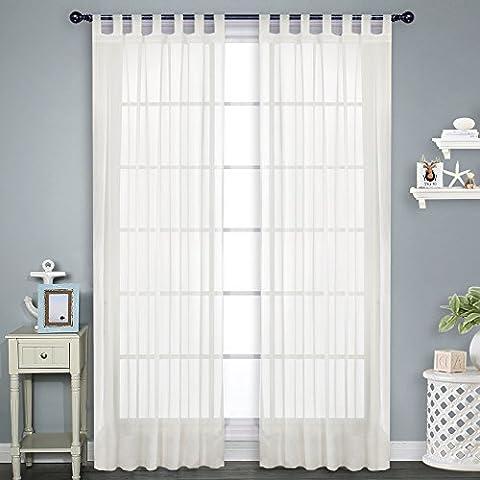 Voile Tüll Vorhang Schlaufen transparent - PONY DANCE ( 2 Stücke, Höhe 245 x Breite 140 cm, Ivory ) Gardinen Vorhänge für Schlafzimmer Unifarbene lichtdurchlässig Gardinen