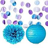 Lila Blau Seidenpapier Pom Poms Blumen Papier Party Deko-Set Laternen Kreis Girlande Geburtstag Hochzeit Taufe Frozen Thema Party