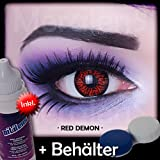 Farbige Kontaktlinsen Crazy Color Fun Contact Lenses 'Red Demon' perfekt zu Fasching, Karneval und Halloween Topqualität inkl. 60 ml Pflegemittel und Linsenbehälter Bild