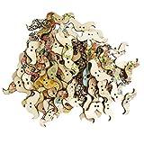 B Blesiya 100Pcs Multicolor Bottoni a Forma di Baffi in Legno per l'artigianato Articoli di Merceria per il Vestito Decorazione